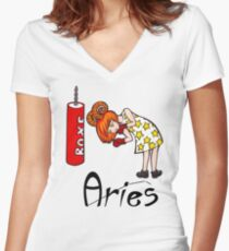 """Aries among the stars - From the series of T-shirts """"Polaris""""  Women's Fitted V-Neck T-Shirt"""