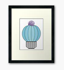 cactus ludique bleu avec une fleur violette Framed Print