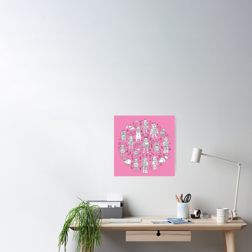 Robot Pattern - pink and white - fun pattern by Cecca designs Poster
