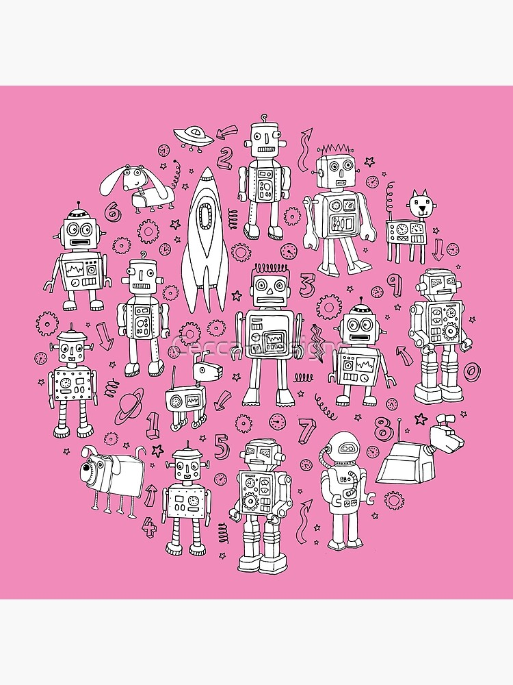Robot Pattern - pink and white - fun pattern by Cecca designs by Cecca-Designs