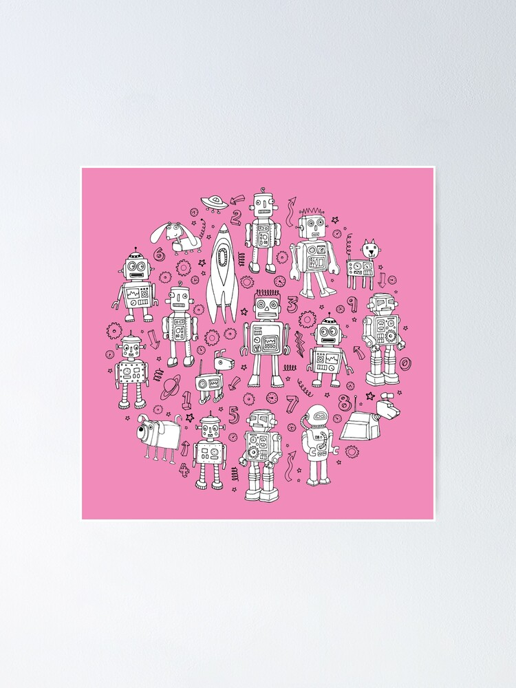 Alternate view of Robot Pattern - pink and white - fun pattern by Cecca designs Poster