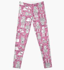 Robot Pattern - pink and white - fun pattern by Cecca designs Leggings
