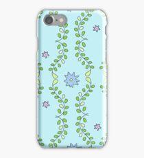 Leafy Floral Vine Pattern in Blue & Green iPhone Case/Skin