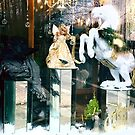 Christmas florist shop window display in vernonia by Dawna Morton