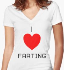 I Love Farting Women's Fitted V-Neck T-Shirt