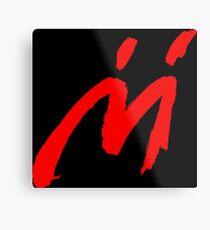 Super Mario Sunshine Schatten Mario M Logo (schwarzer Hintergrund) Metallbild
