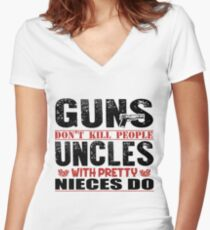 Uncle Guns Nieces Novelty T-Shirt Women's Fitted V-Neck T-Shirt