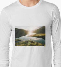 Switzerland Mountain Lake Sunrise - Landscape Photography Long Sleeve T-Shirt