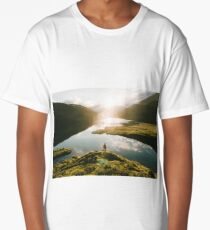Switzerland Mountain Lake Sunrise - Landscape Photography Long T-Shirt
