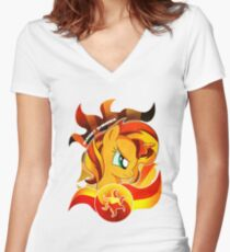 Sunset Shimmer Women's Fitted V-Neck T-Shirt