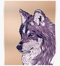 Blue eyed wolf Poster