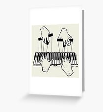 Puppet Pianist Black Greeting Card