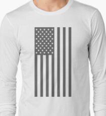 American Flag, Gray, Cut Out Stars Long Sleeve T-Shirt