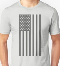 American Flag, Gray, Cut Out Stars Unisex T-Shirt