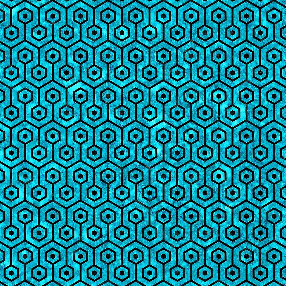 HEXAGON1 BLACK MARBLE AND TURQUOISE MARBLE (R) by johnhunternance