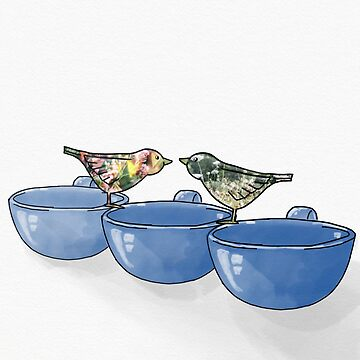 Blue Mugs + Birds by KxtPicture