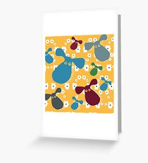Yellow dog pattern with flowers Greeting Card