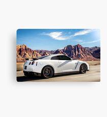 White Nissan GT-R Racin' Through the Desert! Canvas Print