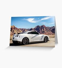 White Nissan GT-R Racin' Through the Desert! Greeting Card