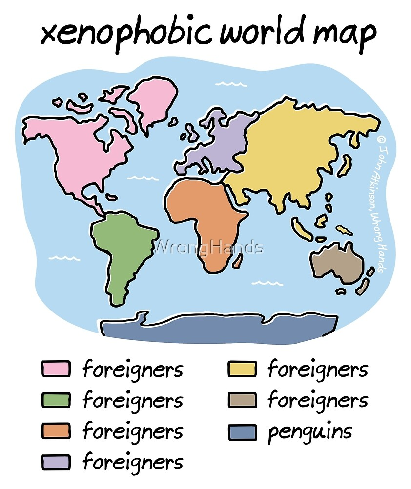 Xenophobic world map by wronghands redbubble xenophobic world map by wronghands gumiabroncs Images