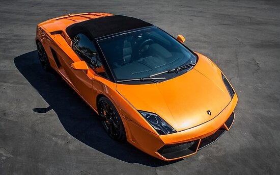 Bright Orange Lamborghini Gallardo Baskin In The Sun Posters By