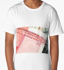 Chinese Yuan Currency Close Up Long T-Shirt