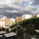 Gathering Clouds Do Not Stop the Gathering Crowds - Plaza Santa Ana Madrid Spain by Georgia Mizuleva