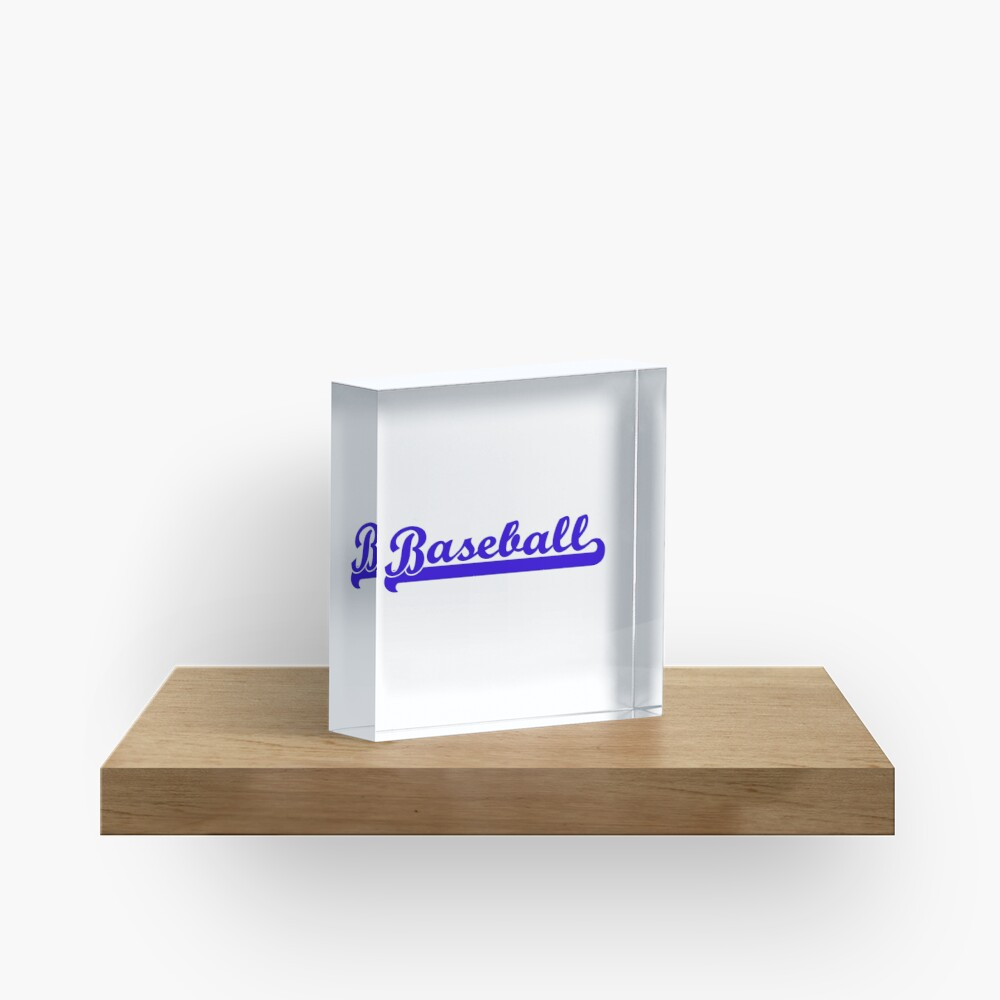 Baseball Royal Blue Typography Acrylic Block