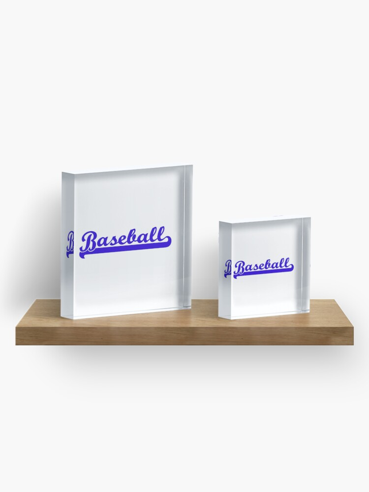 Alternate view of Baseball Royal Blue Typography Acrylic Block