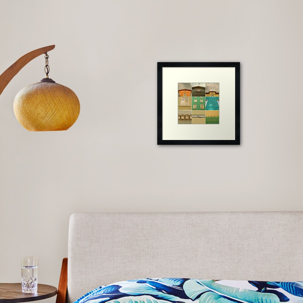 Wooden House Collage Framed Art Print