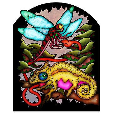 Chameleon and Dragonfly Stained Glass by BloodyMarvelous