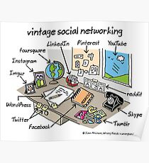 vintage social networking Poster
