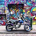 Hosier Lane Graffiti and motor bike by Roz McQuillan