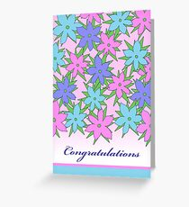 Congratulations, Pastel Colored Flowers Greeting Card