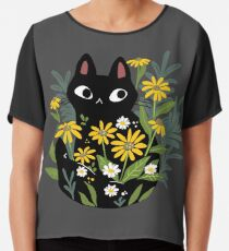 Black cat with flowers  Chiffon Top