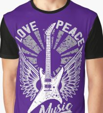 FOR THE LOVE OF MUSIC A GUITAR PLAYER ROCK MUSICIANS DESIGN PURPLES  Graphic T-Shirt