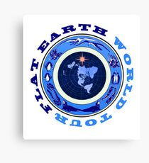 Flat Earth World Tour Deep Blue Canvas Print