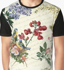 Blue Birds and Flowers Graphic T-Shirt