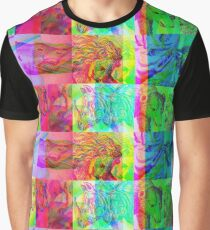 Animals engraving color patchwork glitch version Graphic T-Shirt