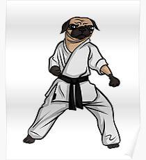 Karate Pug Art Design Poster