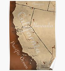 California Fantasy Map Poster