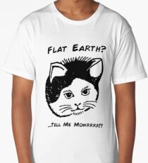 Flat Earth Designs - Curious Cat Long T-Shirt