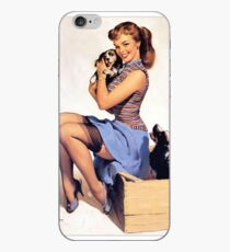 Gil Elvgren pin up with Puppies! iPhone Case