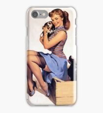 Gil Elvgren pin up with Puppies! iPhone Case/Skin
