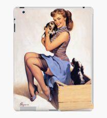 Gil Elvgren pin up with Puppies! iPad Case/Skin