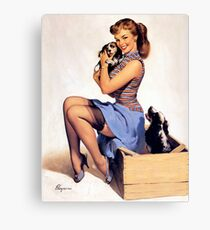 Gil Elvgren pin up with Puppies! Canvas Print