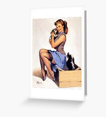Gil Elvgren pin up with Puppies! Greeting Card