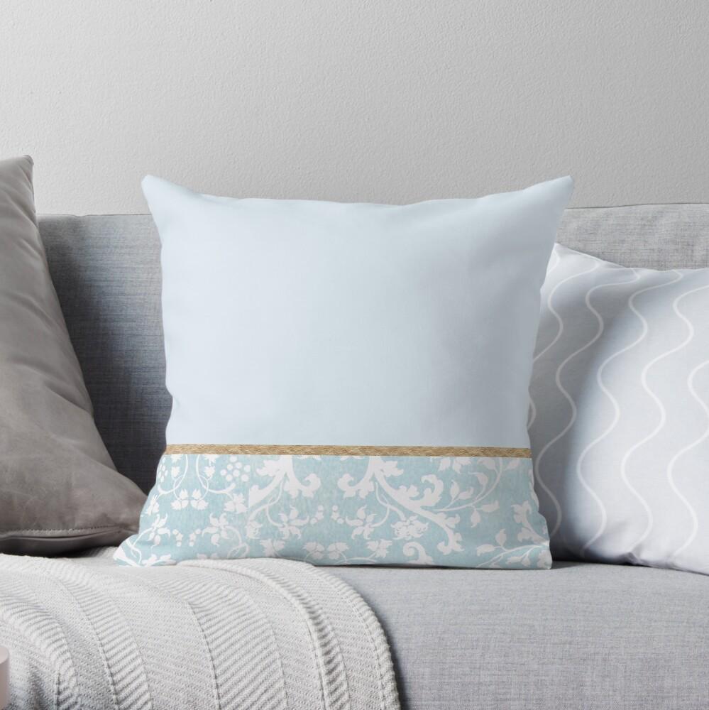 Duck egg blue porcelain floral Throw Pillow