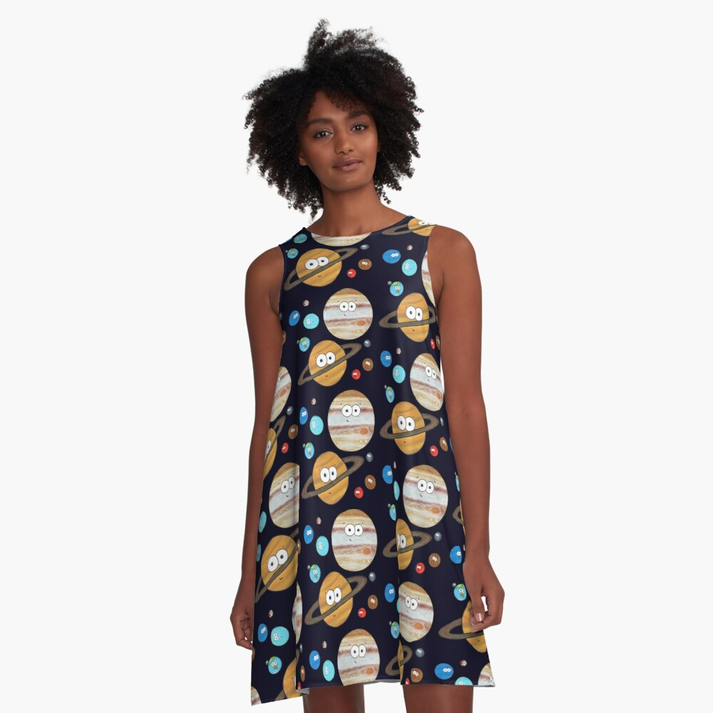 Cute Planets  A-Line Dress