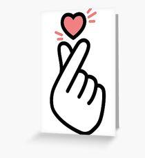 Korean Heart Fingers Shirt Finger Heart Sign Greeting Card